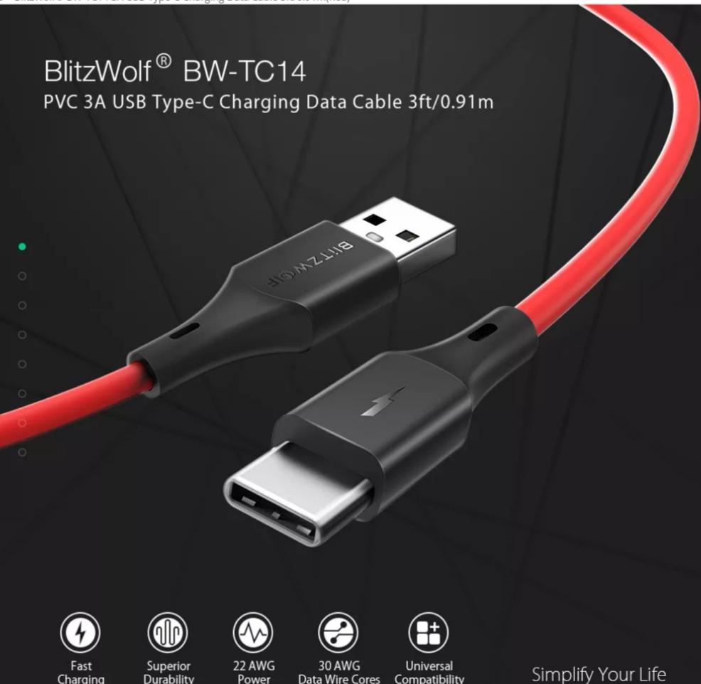 סט  כבלים BlitzWolf® BW-TC14 3A במחיר מציאה!
