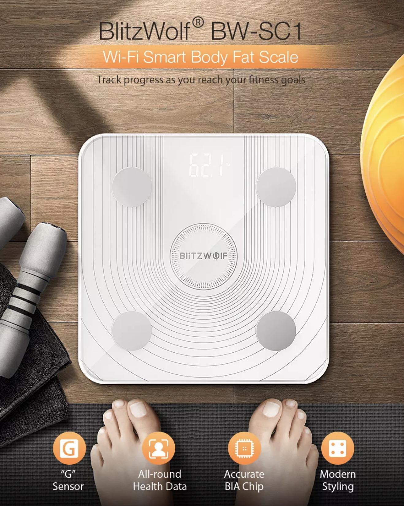 משקל הגוף החכם BlitzWolf BW-SC1 משקף 13 מדדי גוף כולל אחוז שומן במחיר השקה!