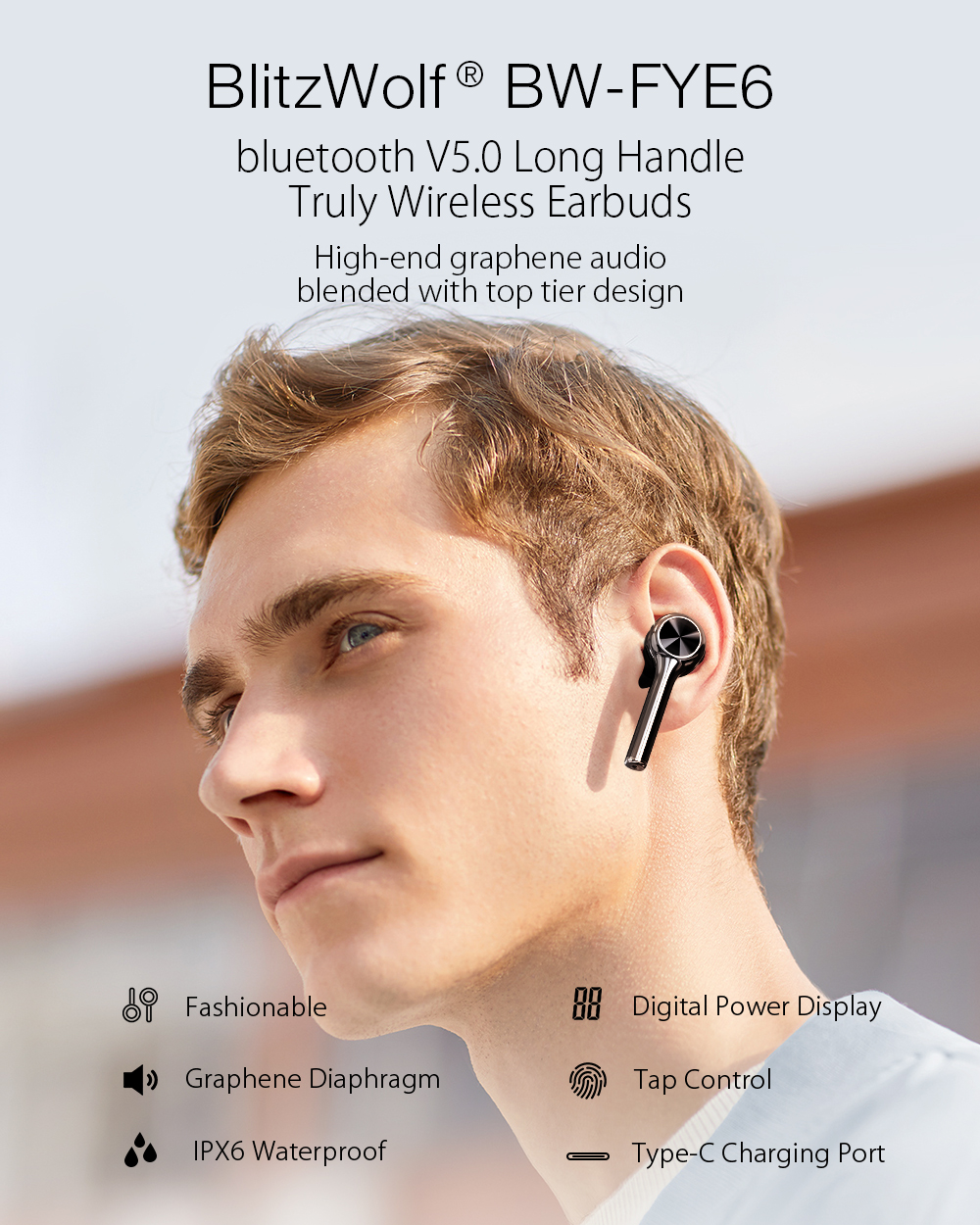 Blitzwolf BW-FYE6 אוזניות הבלוטות' האלחוטיות החדשות של בליצוולף.