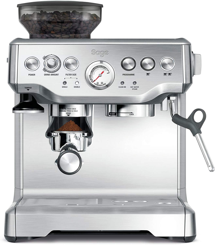 מכונת קפה מקצועית Sage BES875UK בעיצוב נקי ואלגנטי