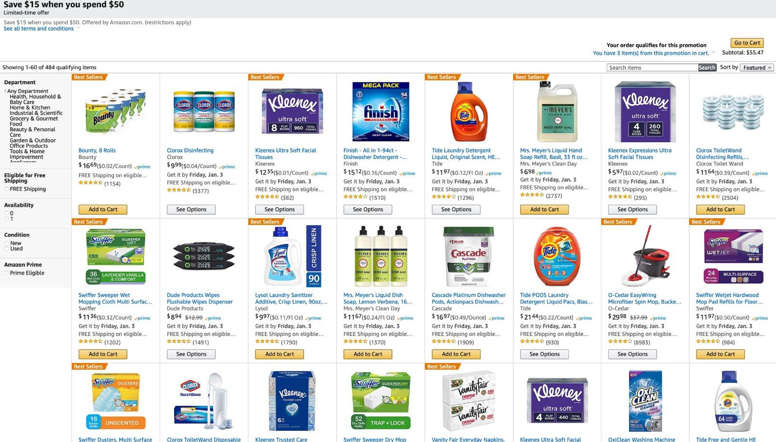 סייל מטורף על מוצרי צריכה באמאזון! 15$ הנחה על מגוון מוצרים!