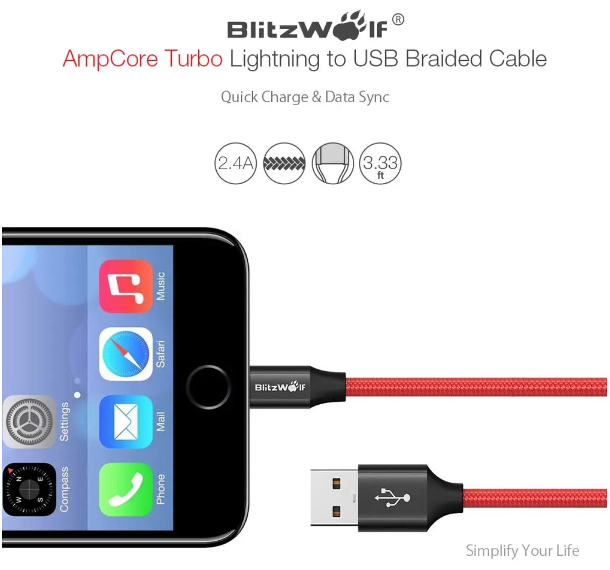 BlitzWolf BW-MF9 כבל טעינה ארוג, עמיד ומאושר MFI לאייפון