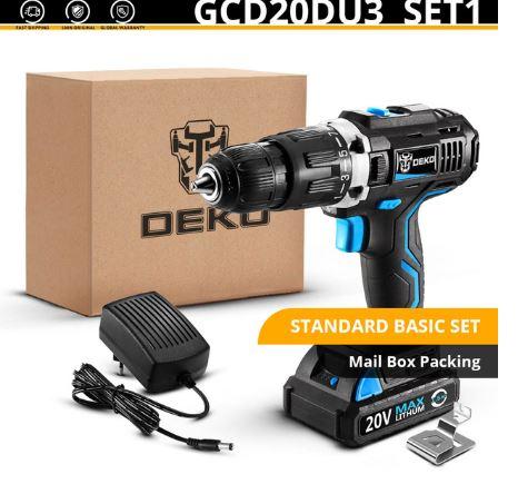 מקדחה רוטטת/מברגה עוצמתית 20V מדגם DEKO GCD20DU